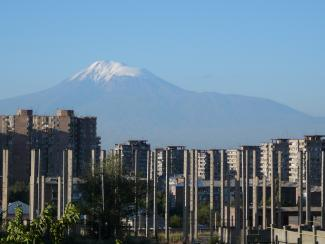 Buildings in Yerevan and Mount Ararat (February 2007)